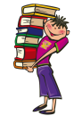 cartoon boy holding books