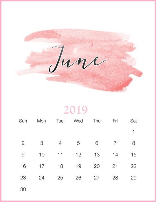 Watercolor-2019-June-Printable-Calendar